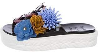 Paula Cademartori Floral Slide Sandals
