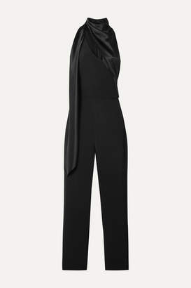Cushnie Draped Silk Satin-trimmed Crepe Jumpsuit - Black