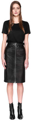Mackage DETTA Lamb leather belted pencil skirt with zipper
