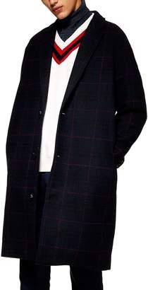 Topman Hadyn Oversize Check Print Overcoat