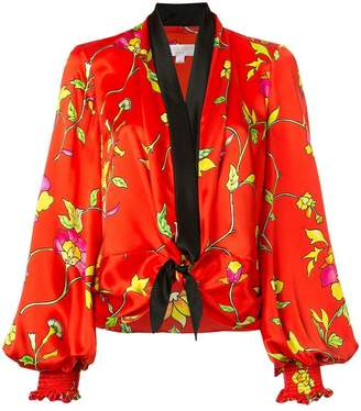 Caroline Constas floral print tie front blouse