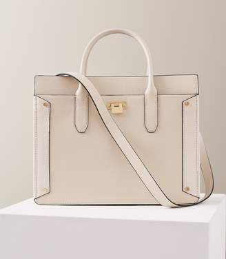 Reiss Marley - Leather Tote Bag in Off White