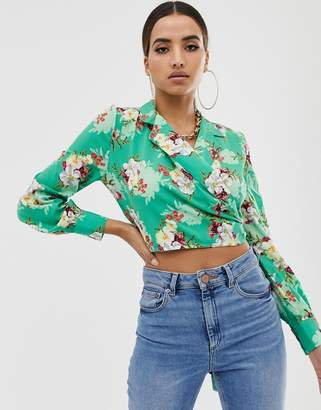 PrettyLittleThing Floral Wrap Blouse