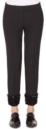 Akris Punto Frankie Straight-Leg Cropped Punto Pants with Sequin Cuffs