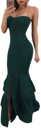 Jumojufol Women's Elegant Tube Strapless Backless Slit Bodycon Prom Mermaid Dress L