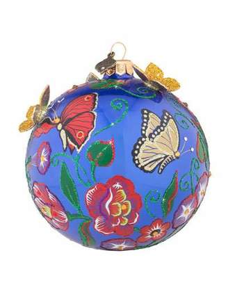 "Jay Strongwater Butterfly Artisan Glass Ball Christmas Ornament, 4""Dia."