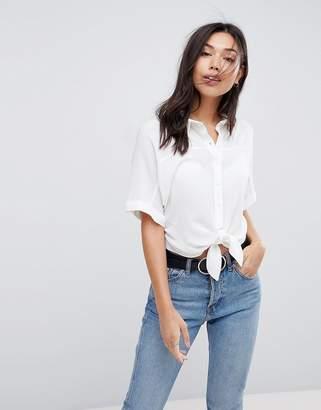 Asos DESIGN Tie Front Shirt in Crinkle