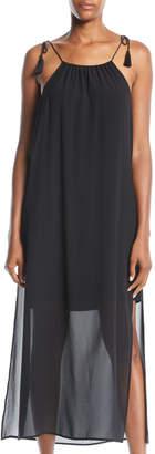 Kensie Sheer-Skirt Tassel-Shoulder Maxi Dress