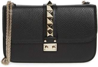 Valentino Medium Lock Studded Leather Shoulder Bag