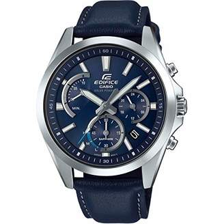 846f95dbd9c5 Casio Mens Analogue Classic Solar Powered Watch with Leather Strap  EFS-S530L-2AVUEF