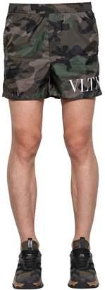 Valentino Camouflage Print Nylon Swim Shorts