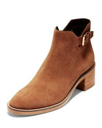 Cole Haan Harrington Grand 360 Low-Heel Suede Buckle Booties, British Tan