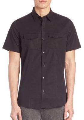 Saks Fifth Avenue Stretch-Cotton Military Shirt