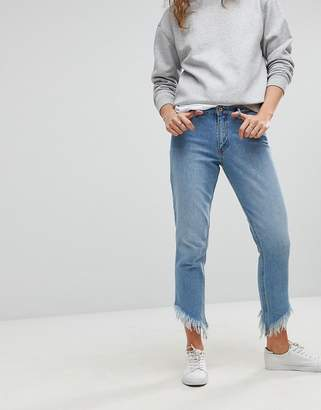 Only Straight Leg Frayed Jeans