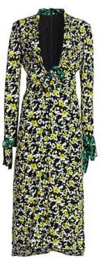 Proenza Schouler Printed Deep-V Midi Dress