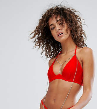 Wolfwhistle Wolf & Whistle Plunge Bikini Top With Exposed Cradle & Chain A-D Cup