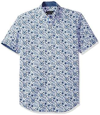 Bugatchi Men's Fitted Printed Cinquefoil Shapes Spread Collar Shirt