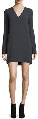 Helmut Lang Long-Sleeve Ponte V-Neck Mini Dress, Charcoal $495 thestylecure.com