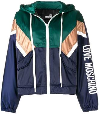 Love Moschino hooded colour block jacket