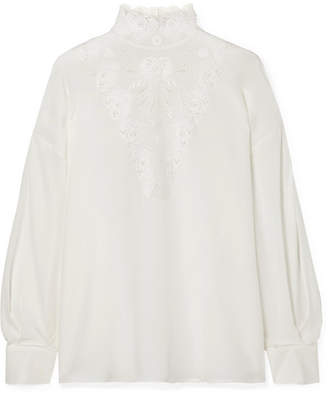 Fendi Broderie Anglaise Silk Crepe De Chine Blouse - White