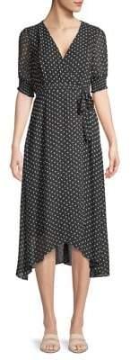 Gabby Skye Polka Dot High-Low Faux-Wrap Dress