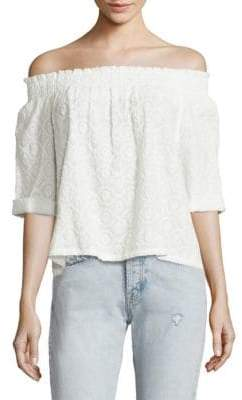 Joie Smocked Cotton Off-The-Shoulder Blouse