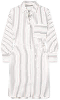 Vince Belted Striped Poplin Dress - White