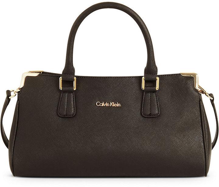 Calvin Klein Handbag, On My Corner Small Saffiano Leather Satchel