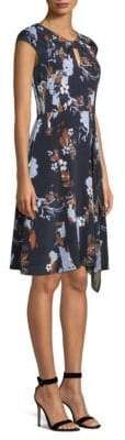 St. John Painted Floral Print A-Line Dress