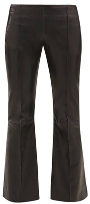 The Row Cabet Leather Kick Flare Trousers - Womens - Black