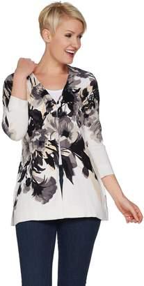 Isaac Mizrahi Live! 3/4 Sleeve Floral Print Long Cardigan