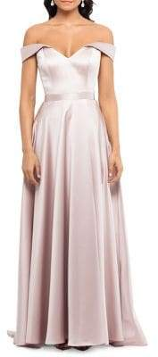 Xscape Evenings Off-the-Shoulder Satin Maxi Gown