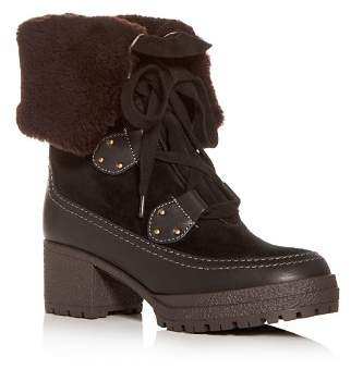 See by Chloe Women's Shearling Block-Heel Boots