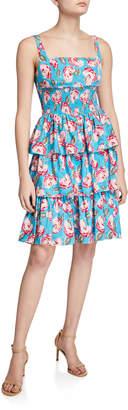Betsey Johnson Vintage Rose-Print Tiered-Ruffle Dress