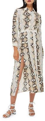 Topshop Snake Print Pleated Shirt Dress