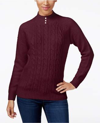 Karen Scott Petite Cable-Knit Mock-Neck Sweater