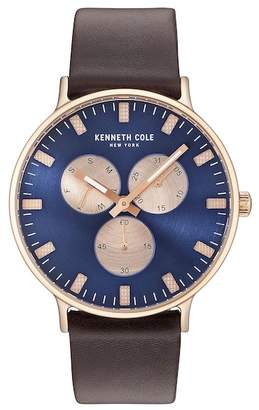 Kenneth Cole New York Men's Quartz Leather Strap Watch, 36mm