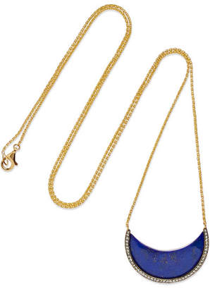 Lapis Noor Fares Chandra Crescent 18-karat Gold, Lazuli And Diamond Necklace