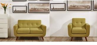 US Pride Furniture Zen Tufted Back Loveseat & Chair Combo Set