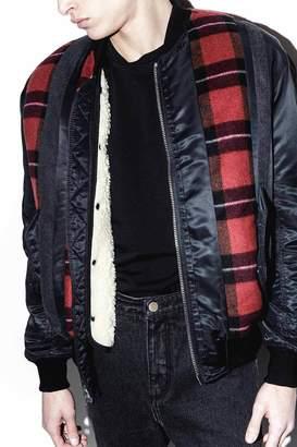 3.1 Phillip Lim Flannel Stripe Paneled Bomber Jacket