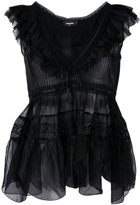 DSQUARED2 ruffled lace top