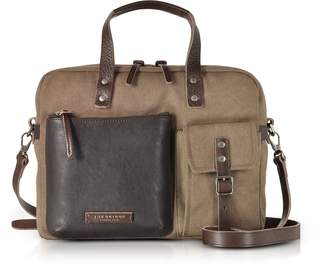 The Bridge Carver-D Canvas Briefcase w/Leather Front Pocket