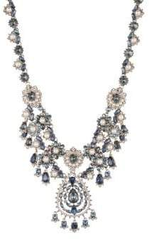 Marchesa Faux Pearl, Swarovski Crystal and Cubic Zirconia Drama Collar Necklace