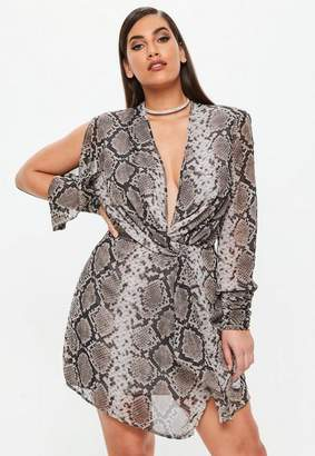 Missguided Curve Gray Snake Print Tie Cuff Dress