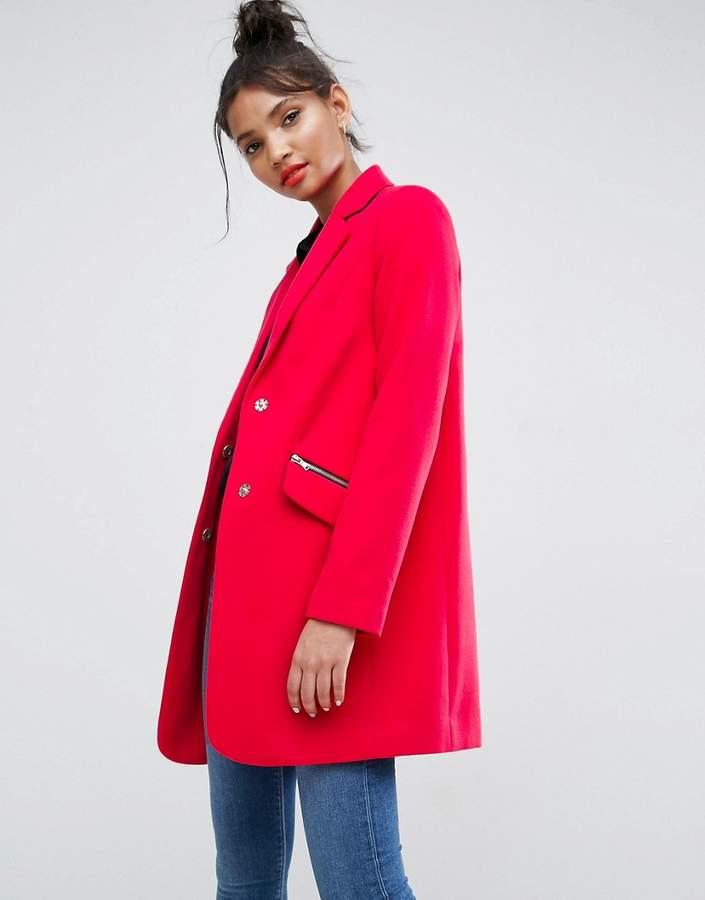 – Enger Boyfriend-Mantel mit Reißverschluss-Taschen