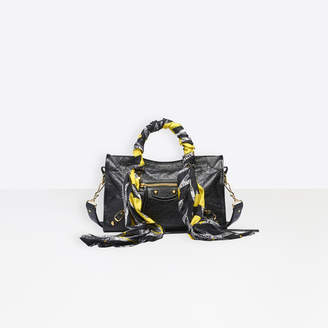 Balenciaga Classic City Small Shoulder Bag in black arena leather and multicolor handle scarf
