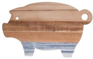 Denmark Acacia and Marble 14.02 Inch 3D Pig Cutting Board