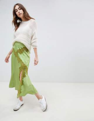 Asos DESIGN satin maxi skirt with lace inserts
