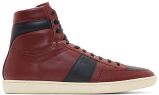 Saint Laurent Burgundy Court Classic SL/10H High-Top Sneakers