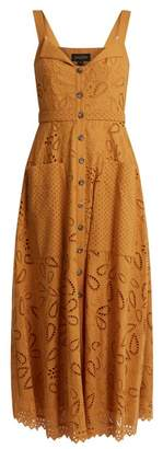 Saloni Fara Broderie Anglaise Cotton Midi Dress - Womens - Tan